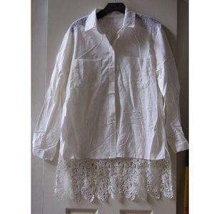 Tops - White laser cutout longsleeve white shirt sz S